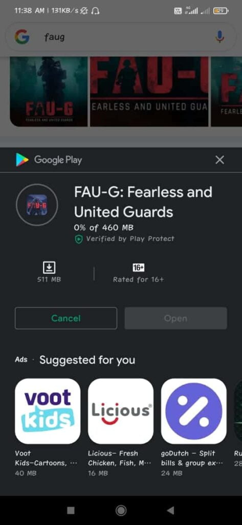 FAU-G: Fearless and United Guards Playstore
